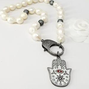 Genuine Baroque Freshwater Pearls Hamsa Necklace